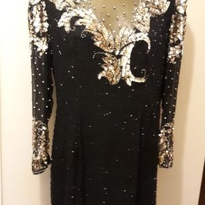 """""""NITE"""" BEADED SEQUINED FITTED DRESS"""